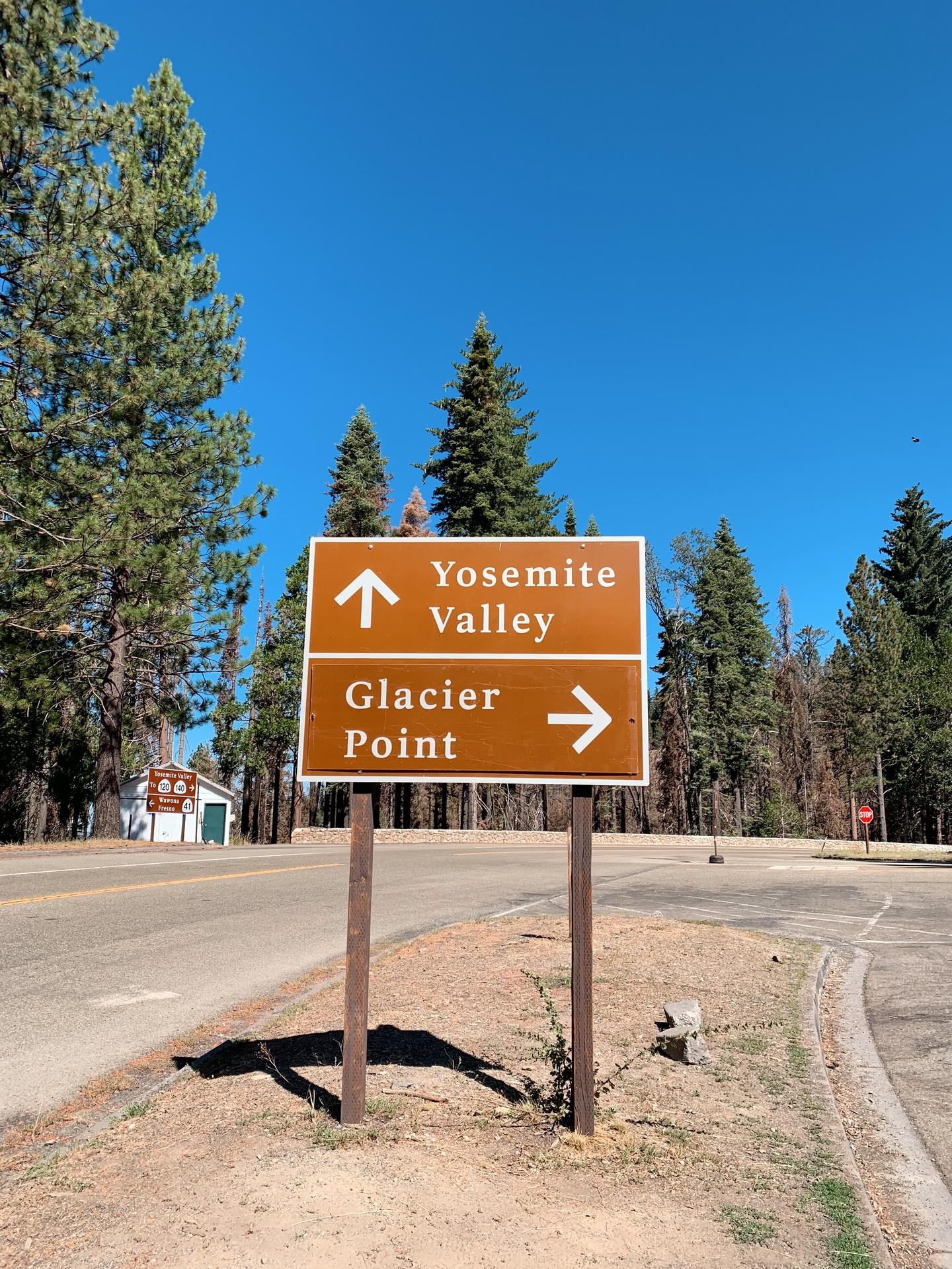 Sign Yosemite Valley Glasier Point